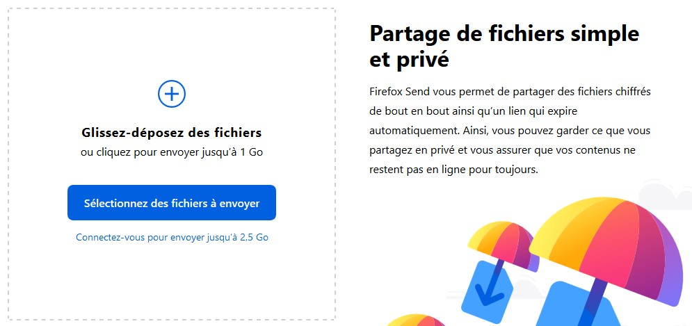 Firefox Send - Interface de dépôt