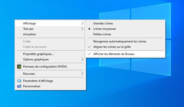 Cacher les icônes du bureau sous Windows 10