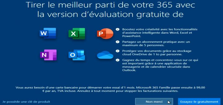 Panneau d'info Windows10